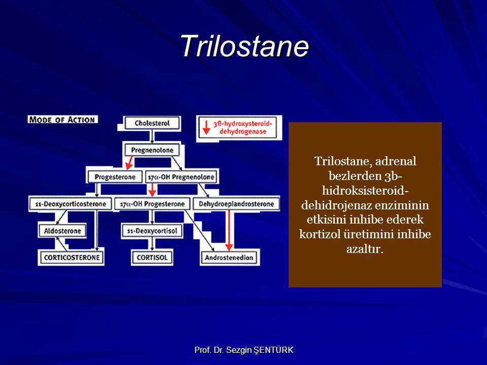 Prof. Dr. Sezgin ŞENTÜRK Trilostane Trilostane, adrenal bezlerden 3b- hidroksisteroid- dehidrojenaz enziminin etkisini inhibe ederek kortizol üretimin