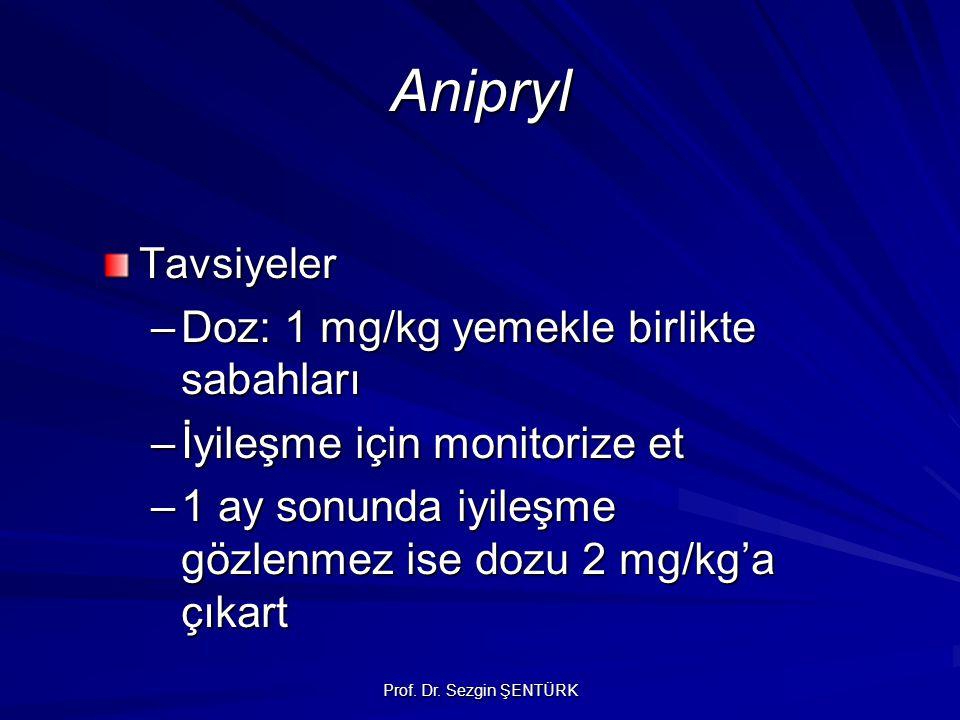 Anipryl Tavsiyeler –Doz: 1 mg/kg yemekle birlikte sabahları –İyileşme için monitorize et –1 ay sonunda iyileşme gözlenmez ise dozu 2 mg/kg'a çıkart