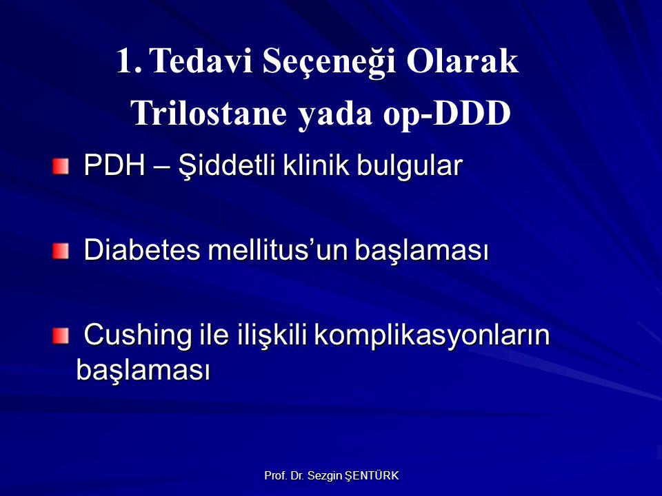 Prof. Dr. Sezgin ŞENTÜRK PDH – Şiddetli klinik bulgular Diabetes mellitus'un başlaması Cushing ile ilişkili komplikasyonların başlaması 1.Tedavi Seçen
