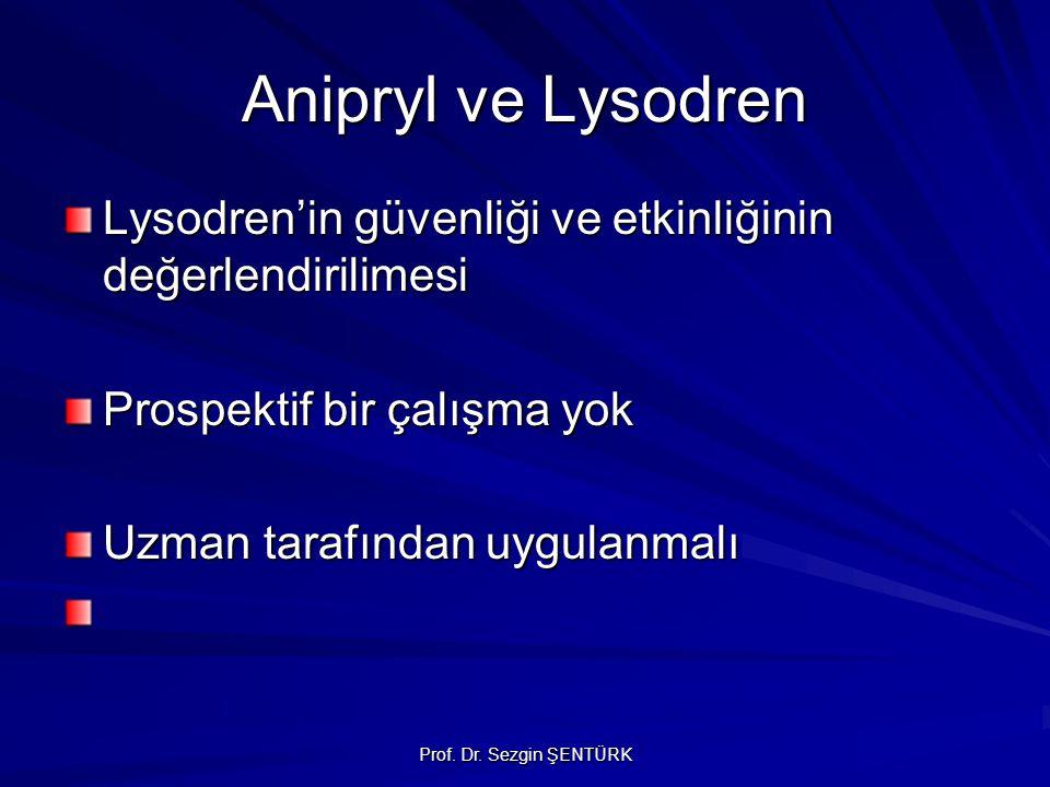 Prof. Dr. Sezgin ŞENTÜRK Anipryl ve Lysodren Lysodren'in güvenliği ve etkinliğinin değerlendirilimesi Prospektif bir çalışma yok Uzman tarafından uygu