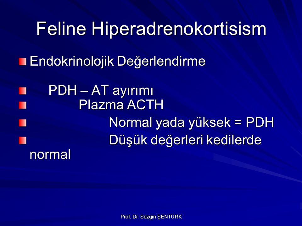 Prof. Dr. Sezgin ŞENTÜRK Feline Hiperadrenokortisism Endokrinolojik Değerlendirme PDH – AT ayırımı Plazma ACTH Normal yada yüksek = PDH Düşük değerler
