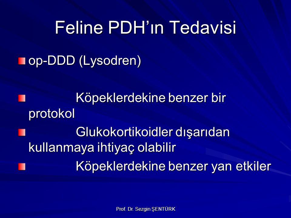Prof. Dr. Sezgin ŞENTÜRK Feline PDH'ın Tedavisi op-DDD (Lysodren) Köpeklerdekine benzer bir protokol Glukokortikoidler dışarıdan kullanmaya ihtiyaç ol