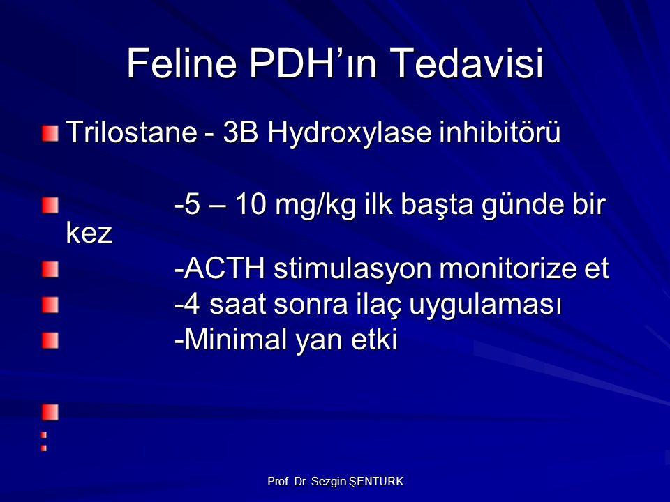 Prof. Dr. Sezgin ŞENTÜRK Feline PDH'ın Tedavisi Trilostane - 3B Hydroxylase inhibitörü -5 – 10 mg/kg ilk başta günde bir kez -ACTH stimulasyon monitor