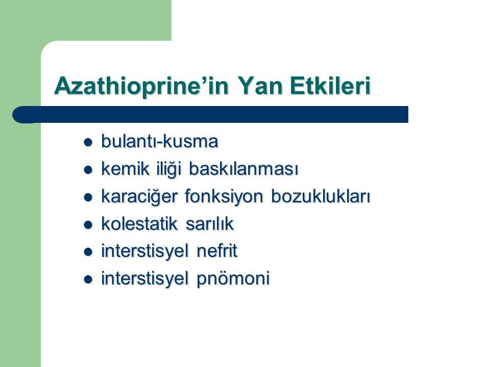 Azathioprine'in Yan Etkileri bulantı-kusma bulantı-kusma kemik iliği baskılanması kemik iliği baskılanması karaciğer fonksiyon bozuklukları karaciğer