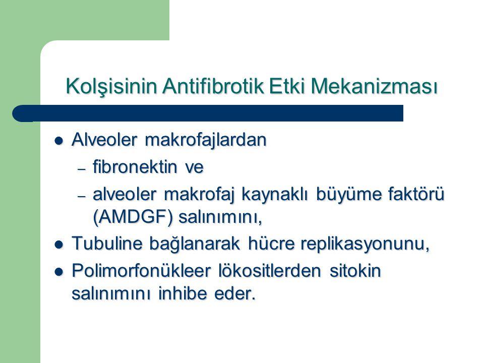 Kolşisinin Antifibrotik Etki Mekanizması Alveoler makrofajlardan Alveoler makrofajlardan – fibronektin ve – alveoler makrofaj kaynaklı büyüme faktörü