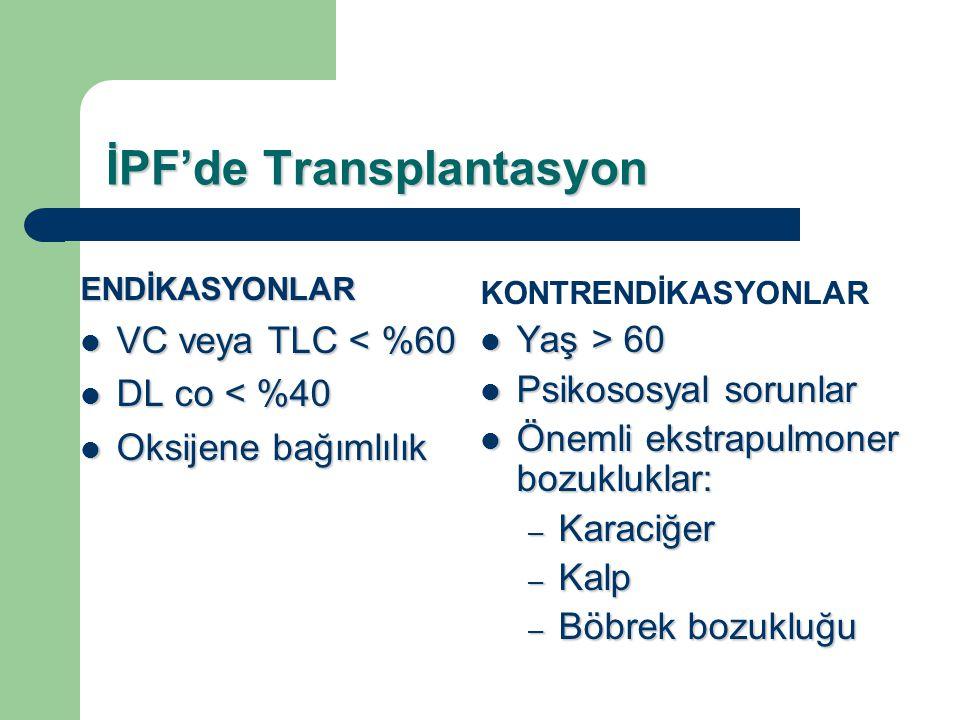 İPF'de Transplantasyon ENDİKASYONLAR VC veya TLC < %60 VC veya TLC < %60 DL co < %40 DL co < %40 Oksijene bağımlılık Oksijene bağımlılık KONTRENDİKASY
