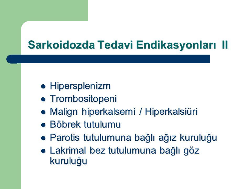 Sarkoidozda Tedavi Endikasyonları II Hipersplenizm Hipersplenizm Trombositopeni Trombositopeni Malign hiperkalsemi / Hiperkalsiüri Malign hiperkalsemi
