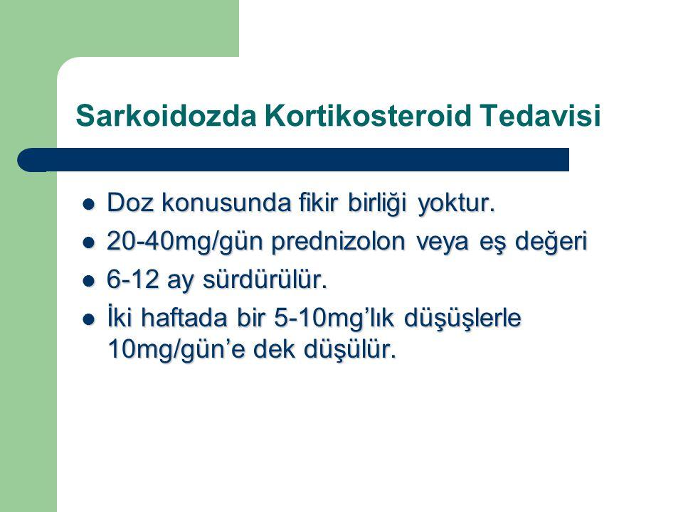 Sarkoidozda Kortikosteroid Tedavisi Doz konusunda fikir birliği yoktur. Doz konusunda fikir birliği yoktur. 20-40mg/gün prednizolon veya eş değeri 20-