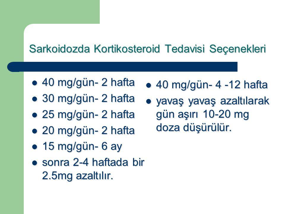 Sarkoidozda Kortikosteroid Tedavisi Seçenekleri 40 mg/gün- 2 hafta 40 mg/gün- 2 hafta 30 mg/gün- 2 hafta 30 mg/gün- 2 hafta 25 mg/gün- 2 hafta 25 mg/g