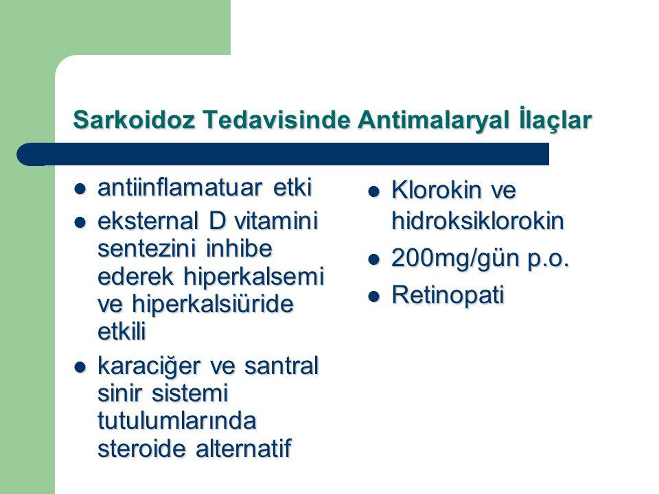 Sarkoidoz Tedavisinde Antimalaryal İlaçlar antiinflamatuar etki antiinflamatuar etki eksternal D vitamini sentezini inhibe ederek hiperkalsemi ve hipe