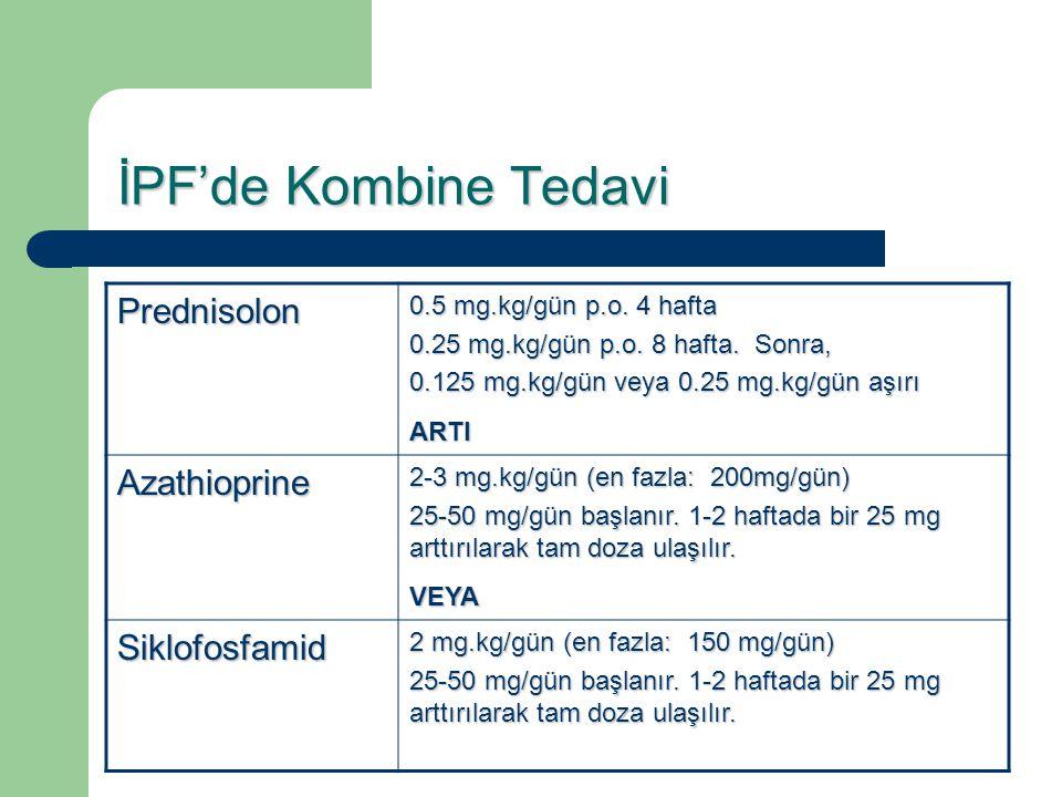 İPF'de Kombine Tedavi Prednisolon 0.5 mg.kg/gün p.o. 4 hafta 0.25 mg.kg/gün p.o. 8 hafta. Sonra, 0.125 mg.kg/gün veya 0.25 mg.kg/gün aşırı ARTI Azathi