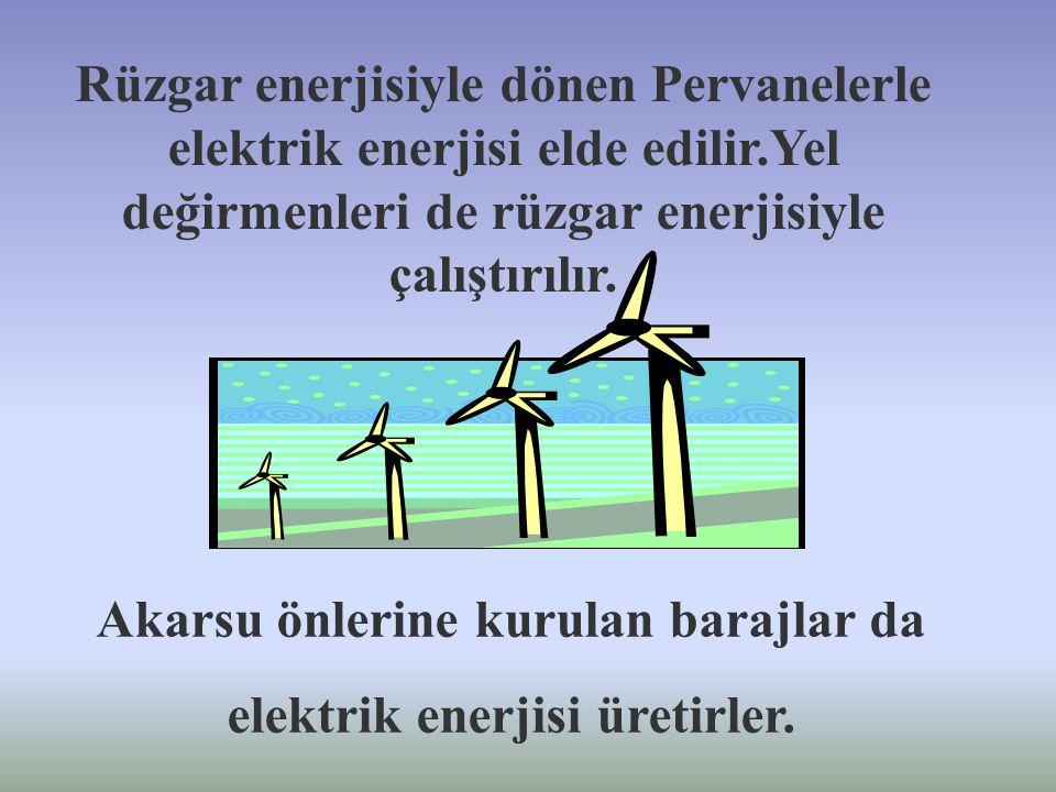 Tabiatta çeşitli enerji kaynakları vardır. Bunlar ; 1.) Isı enerjisi 2.) Hareket enerjisi 3.) Elektrik enerjisi Denizlerde yelkenliler rüzgar enerjisi