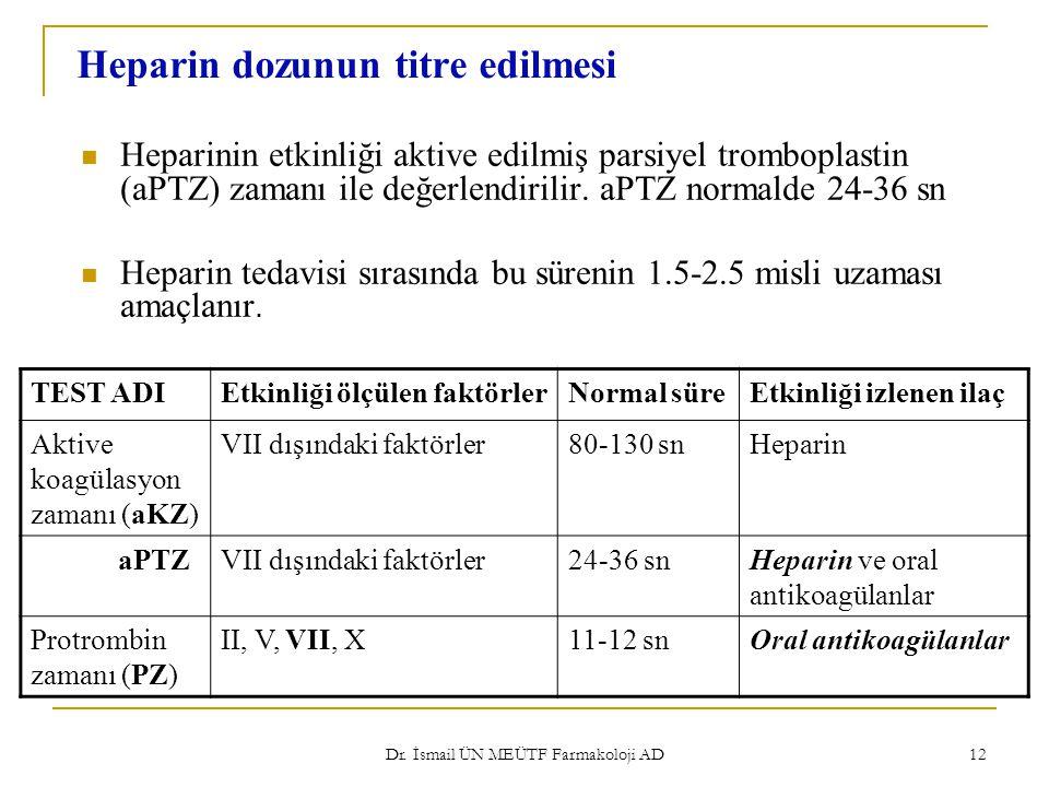 Dr. İsmail ÜN MEÜTF Farmakoloji AD 12 Heparin dozunun titre edilmesi Heparinin etkinliği aktive edilmiş parsiyel tromboplastin (aPTZ) zamanı ile değer