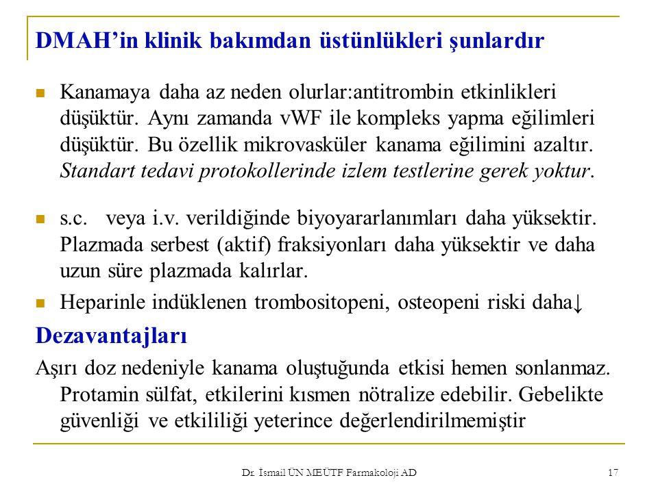 Dr. İsmail ÜN MEÜTF Farmakoloji AD 17 DMAH'in klinik bakımdan üstünlükleri şunlardır Kanamaya daha az neden olurlar:antitrombin etkinlikleri düşüktür.