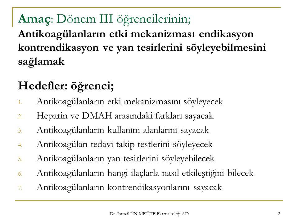 Dr. İsmail ÜN MEÜTF Farmakoloji AD 2 Amaç: Dönem III öğrencilerinin; Antikoagülanların etki mekanizması endikasyon kontrendikasyon ve yan tesirlerini