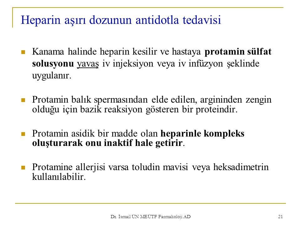 Dr. İsmail ÜN MEÜTF Farmakoloji AD 21 Heparin aşırı dozunun antidotla tedavisi Kanama halinde heparin kesilir ve hastaya protamin sülfat solusyonu yav