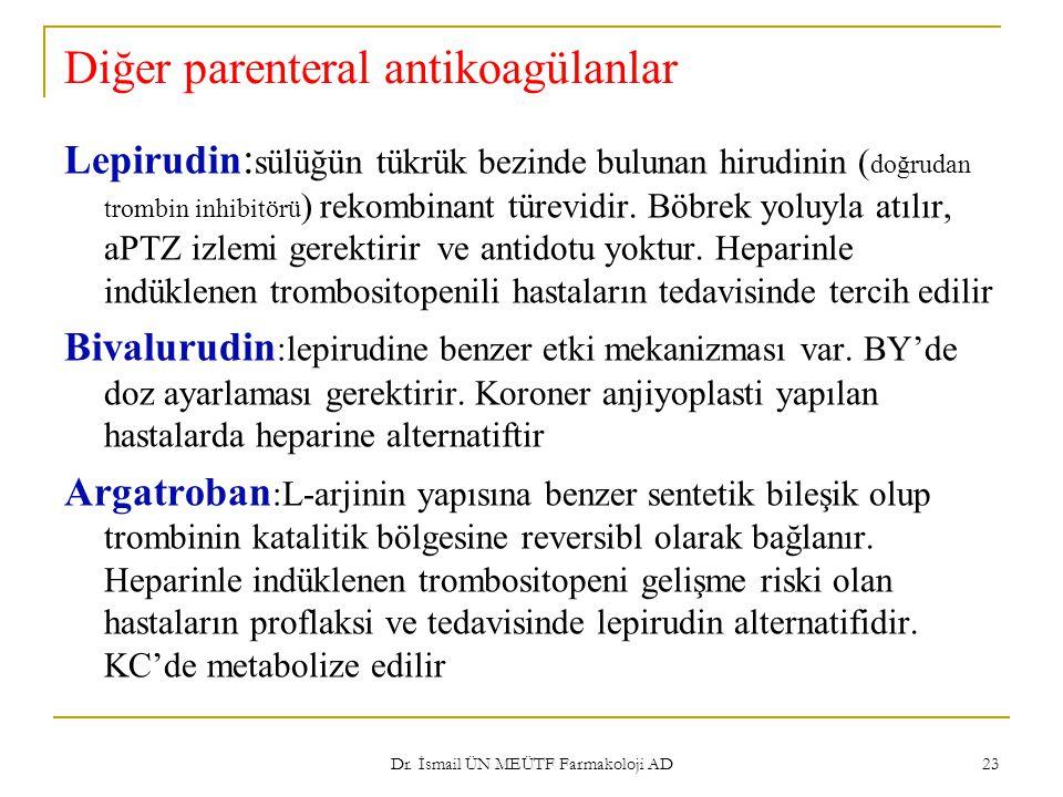 Diğer parenteral antikoagülanlar Lepirudin : sülüğün tükrük bezinde bulunan hirudinin ( doğrudan trombin inhibitörü ) rekombinant türevidir. Böbrek yo