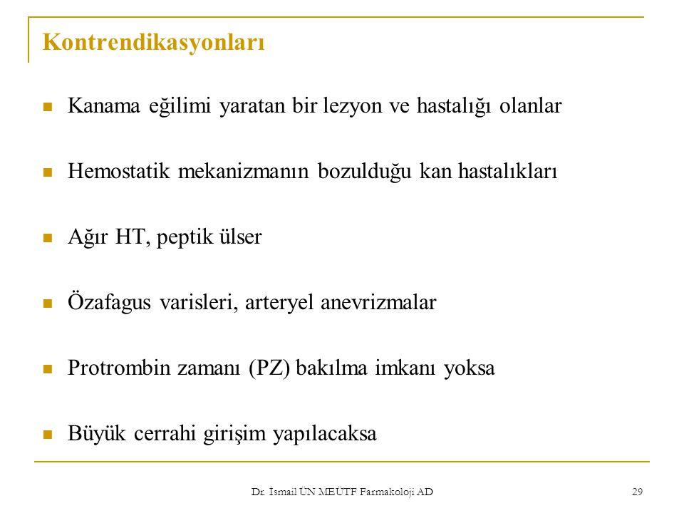Dr. İsmail ÜN MEÜTF Farmakoloji AD 29 Kontrendikasyonları Kanama eğilimi yaratan bir lezyon ve hastalığı olanlar Hemostatik mekanizmanın bozulduğu kan