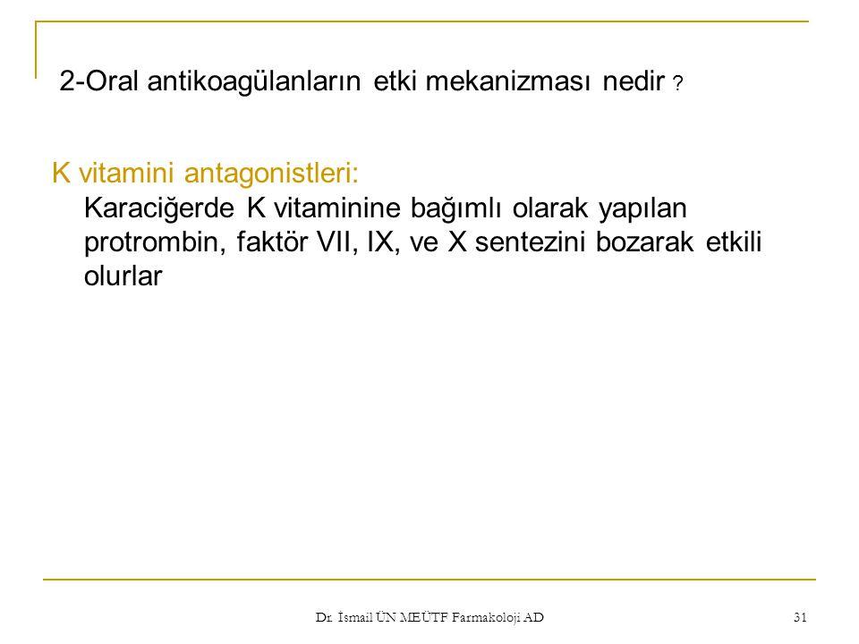 Dr. İsmail ÜN MEÜTF Farmakoloji AD 31 2-Oral antikoagülanların etki mekanizması nedir ? K vitamini antagonistleri: Karaciğerde K vitaminine bağımlı ol