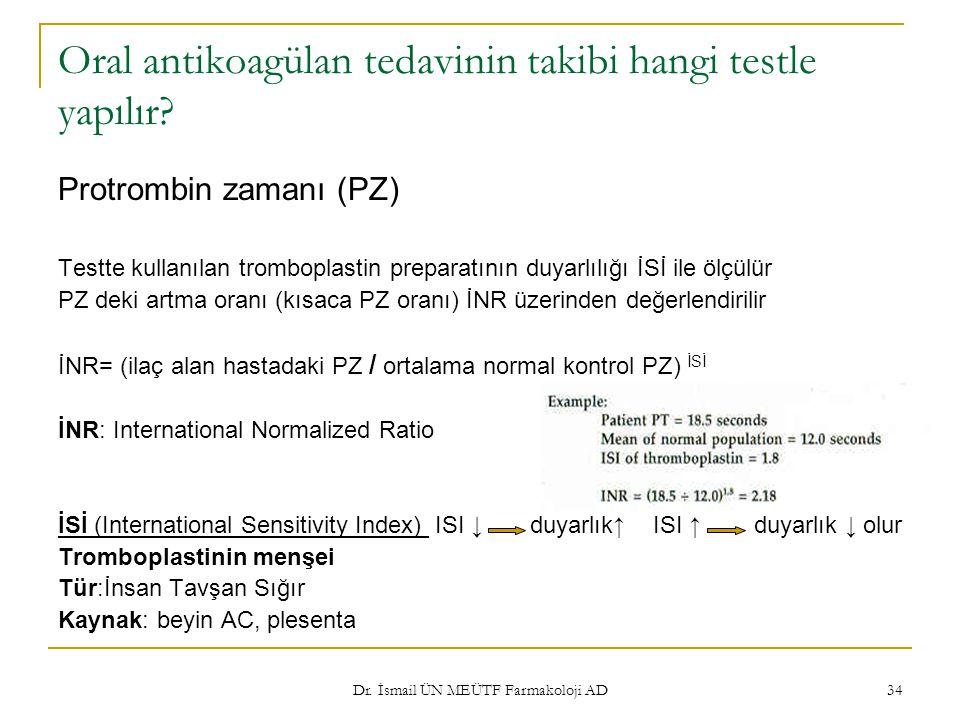 Dr. İsmail ÜN MEÜTF Farmakoloji AD 34 Oral antikoagülan tedavinin takibi hangi testle yapılır? Protrombin zamanı (PZ) Testte kullanılan tromboplastin