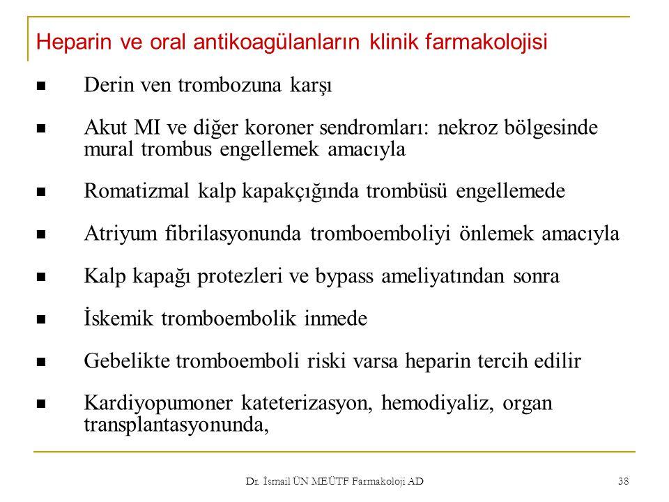 Dr. İsmail ÜN MEÜTF Farmakoloji AD 38 Heparin ve oral antikoagülanların klinik farmakolojisi Derin ven trombozuna karşı Akut MI ve diğer koroner sendr