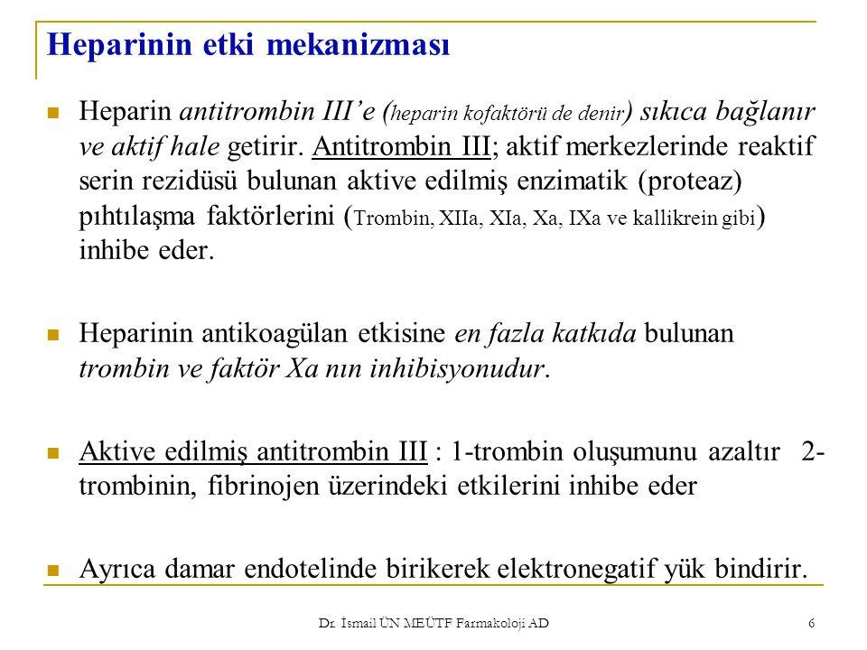 Dr. İsmail ÜN MEÜTF Farmakoloji AD 6 Heparinin etki mekanizması Heparin antitrombin III'e ( heparin kofaktörü de denir ) sıkıca bağlanır ve aktif hale