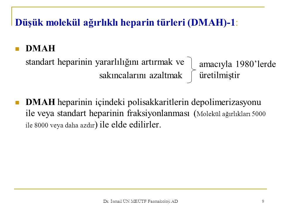 9 Düşük molekül ağırlıklı heparin türleri (DMAH)-1: DMAH standart heparinin yararlılığını artırmak ve sakıncalarını azaltmak DMAH heparinin içindeki p