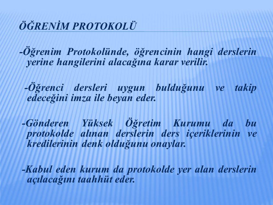 ÖĞRENİM PROTOKOLÜ -Öğrenim Protokolünde, öğrencinin hangi derslerin yerine hangilerini alacağına karar verilir. -Öğrenci dersleri uygun bulduğunu ve t