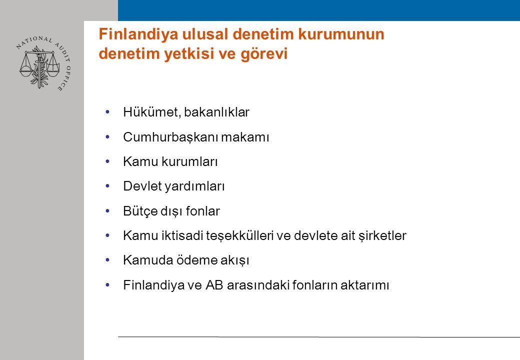 Finlandiya ulusal denetim kurumunun denetim yetkisi ve görevi Hükümet, bakanlıklar Cumhurbaşkanı makamı Kamu kurumları Devlet yardımları Bütçe dışı fonlar Kamu iktisadi teşekkülleri ve devlete ait şirketler Kamuda ödeme akışı Finlandiya ve AB arasındaki fonların aktarımı