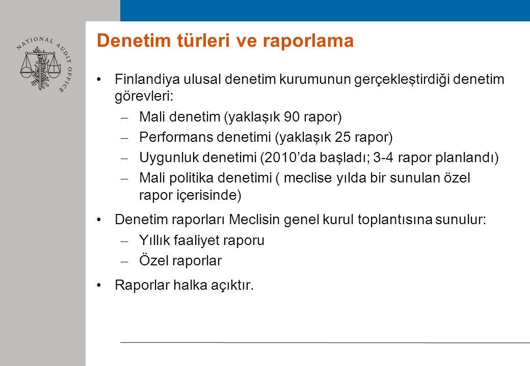 Denetim türleri ve raporlama Finlandiya ulusal denetim kurumunun gerçekleştirdiği denetim görevleri: – Mali denetim (yaklaşık 90 rapor) – Performans denetimi (yaklaşık 25 rapor) – Uygunluk denetimi (2010'da başladı; 3-4 rapor planlandı) – Mali politika denetimi ( meclise yılda bir sunulan özel rapor içerisinde) Denetim raporları Meclisin genel kurul toplantısına sunulur: – Yıllık faaliyet raporu – Özel raporlar Raporlar halka açıktır.