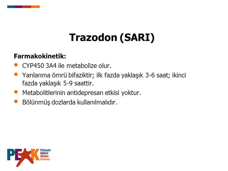 Trazodon (SARI) Kullanım özellikleri: Hipomani veya maniyi ortaya çıkarma riski bazı antidepresanlardan daha azdır.