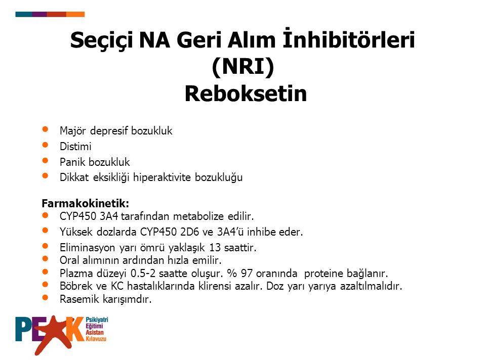 (Reboksetin Devam) Kullanım özellikleri: Kabızlık, ağız kuruluğu ve üriner retansiyon noradrenerjik yan etkileridir.