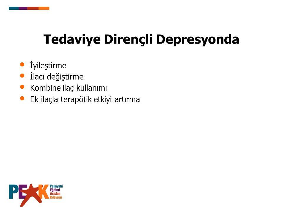 Antidepresan Tedavisinin Uzun Dönemde Sonuçları (AD tedavisinin 5 R si) Response –Yanıt: Genellikle deprese bir hastanın HDÖ gibi standart bir psikiyatrik değerlendirme ölçeği ile değerlendirilen semptomlarında en az %50 oranında bir azalmayı ifade eder.
