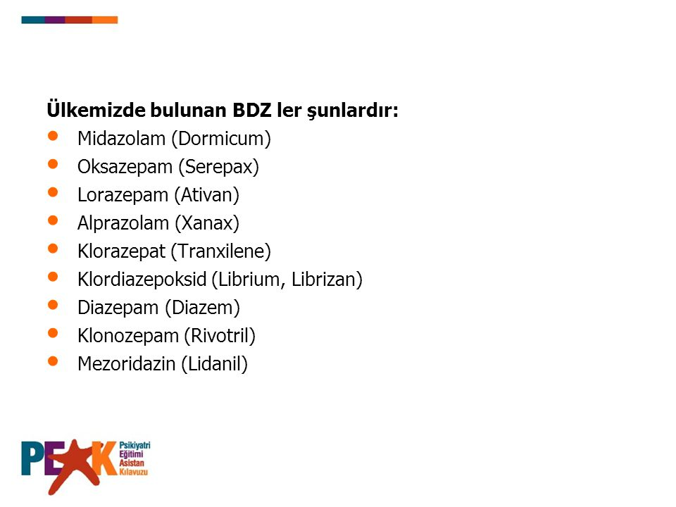 Benzodiazepinlerin Eşdeğer Dozları Alprazolam Klordiazepoksid Klorazepat Diazepam Lorazepam Oksazepam Klonazepam Zopiklon 0.5 mg 25 mg 7.5 mg 5 mg 1 mg 15 mg 0.25 mg 7.5 mg