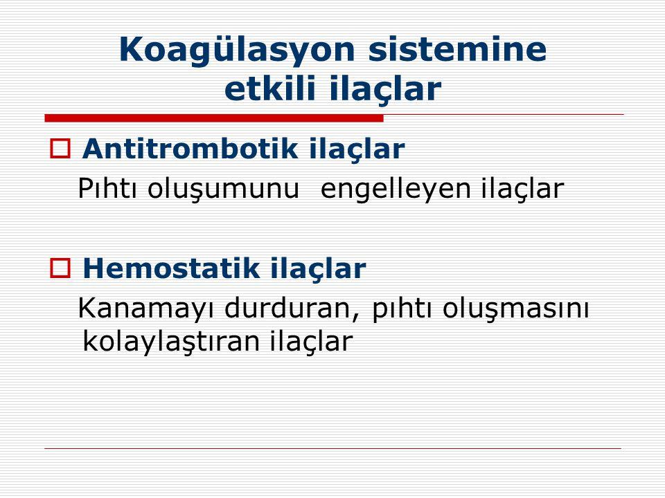 Koagülasyon sistemine etkili ilaçlar  Antitrombotik ilaçlar Pıhtı oluşumunu engelleyen ilaçlar  Hemostatik ilaçlar Kanamayı durduran, pıhtı oluşması