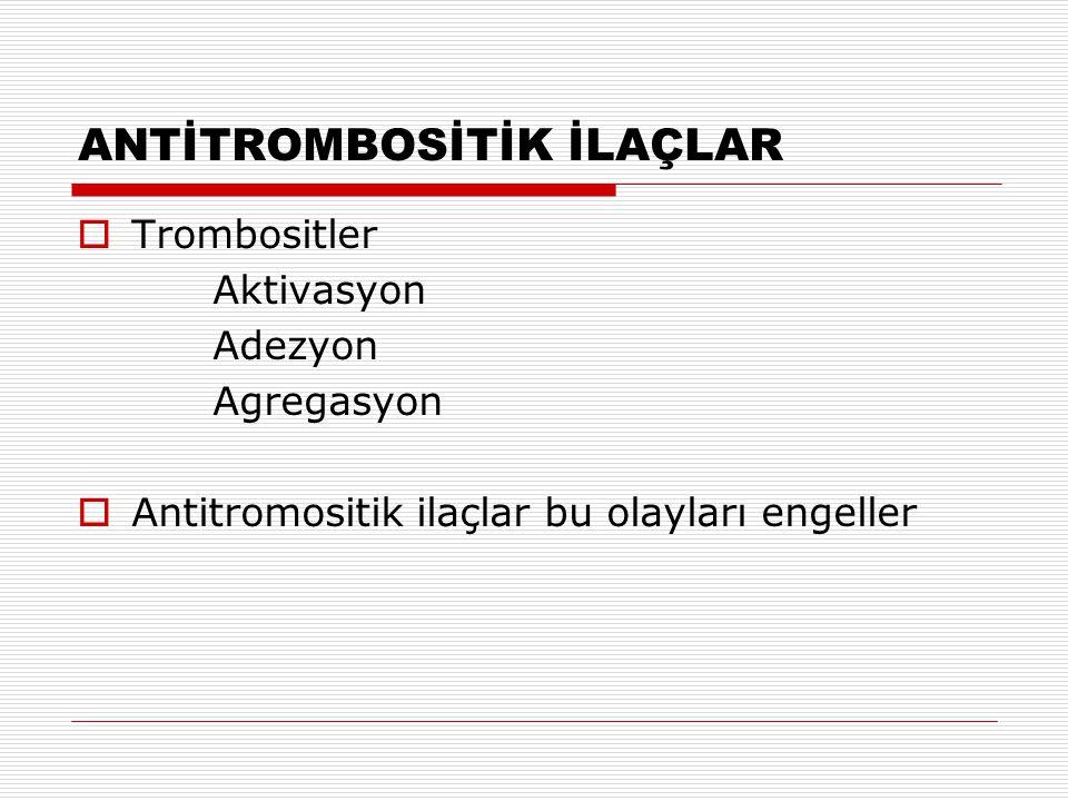 ANTİTROMBOSİTİK İLAÇLAR  Aspirin  Tiklopidin ve Klopidogrel  Trombosit glikoprotein IIb/IIIa reseptör antagonistleri  Dipiridamol  Diğerleri
