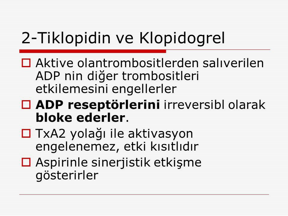 2-Tiklopidin ve Klopidogrel  Aktive olantrombositlerden salıverilen ADP nin diğer trombositleri etkilemesini engellerler  ADP reseptörlerini irrever