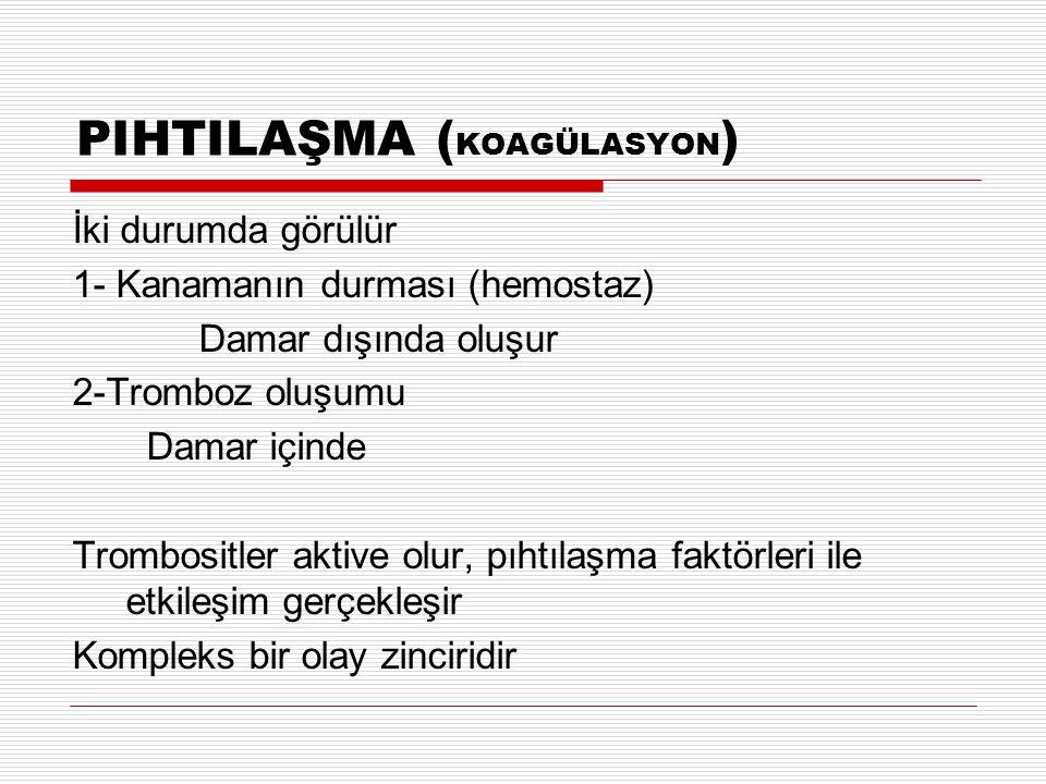 PIHTILAŞMA ( KOAGÜLASYON ) İki durumda görülür 1- Kanamanın durması (hemostaz) Damar dışında oluşur 2-Tromboz oluşumu Damar içinde Trombositler aktive