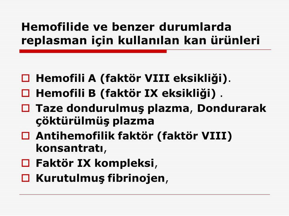 Hemofilide ve benzer durumlarda replasman için kullanılan kan ürünleri  Hemofili A (faktör VIII eksikliği).  Hemofili B (faktör IX eksikliği).  Ta