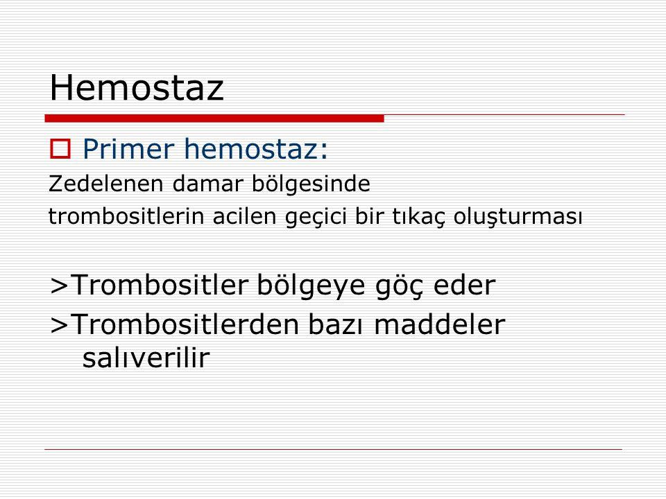 Hemostaz  Primer hemostaz: Zedelenen damar bölgesinde trombositlerin acilen geçici bir tıkaç oluşturması >Trombositler bölgeye göç eder >Trombositler