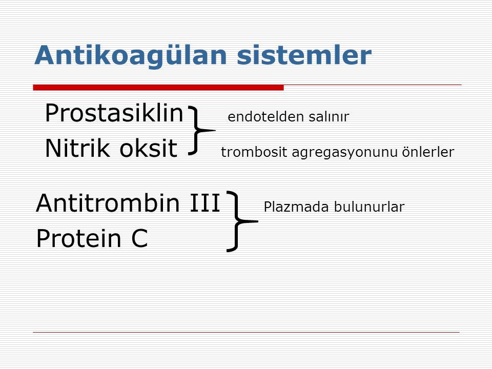 Antikoagülan sistemler Prostasiklin endotelden salınır Nitrik oksit trombosit agregasyonunu önlerler Antitrombin III Plazmada bulunurlar Protein C