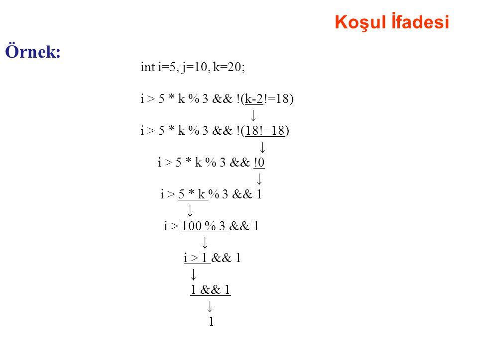 Koşul İfadesi Örnek: int i=5, j=10, k=20; i > 5 * k % 3 && !(k-2!=18) ↓ i > 5 * k % 3 && !(18!=18) ↓ i > 5 * k % 3 && !0 ↓ i > 5 * k % 3 && 1 ↓ i > 10