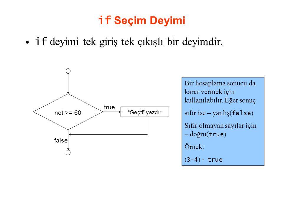 """if Seçim Deyimi if deyimi tek giriş tek çıkışlı bir deyimdir. true false not >= 60 """"Geçti"""" yazdır Bir hesaplama sonucu da karar vermek için kullanılab"""