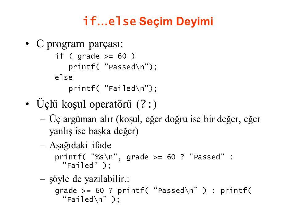 if … else Seçim Deyimi C program parçası: if ( grade >= 60 ) printf( Passed\n ); else printf( Failed\n ); Üçlü koşul operatörü ( ?: ) –Üç argüman alır (koşul, eğer doğru ise bir değer, eğer yanlış ise başka değer) –Aşağıdaki ifade printf( %s\n , grade >= 60 .