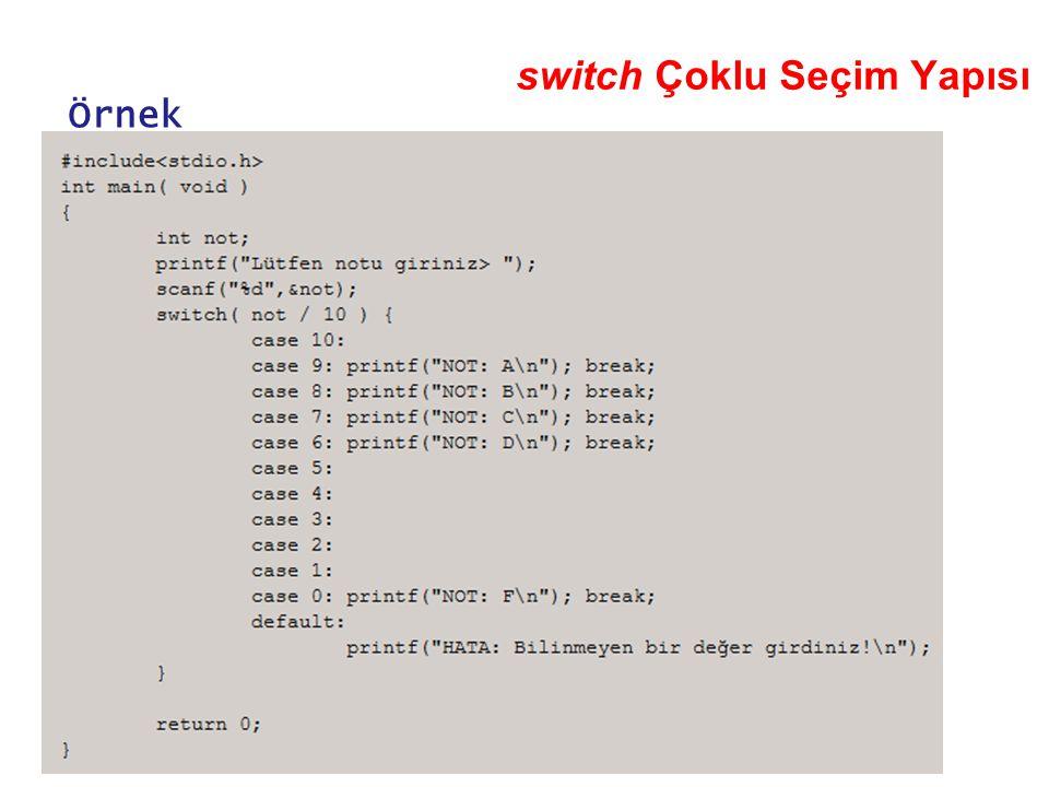 switch Çoklu Seçim Yapısı Örnek