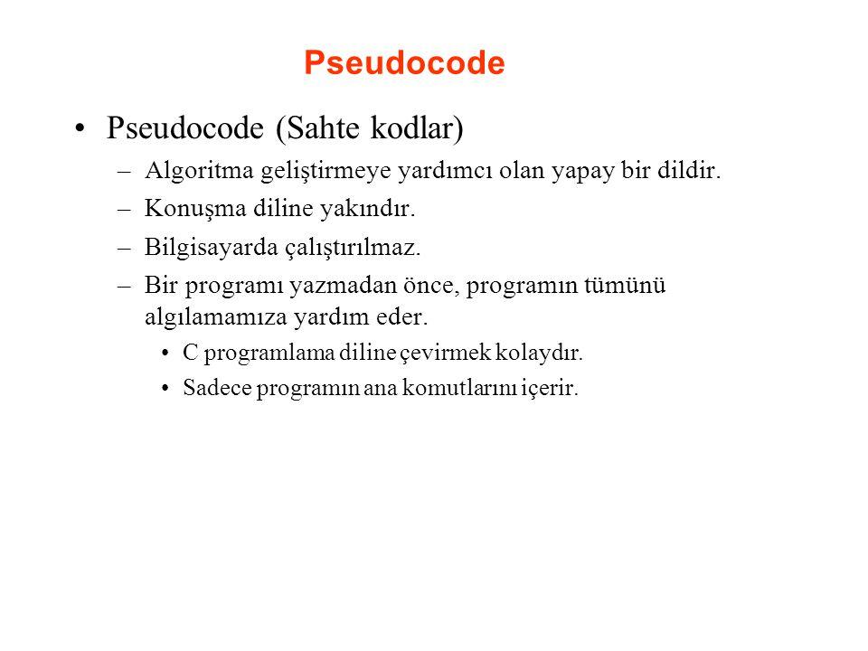 Pseudocode Pseudocode (Sahte kodlar) –Algoritma geliştirmeye yardımcı olan yapay bir dildir. –Konuşma diline yakındır. –Bilgisayarda çalıştırılmaz. –B