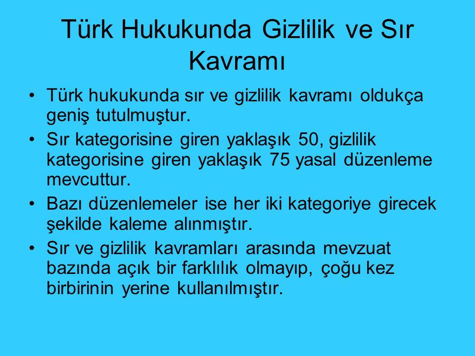 Türk Hukukunda Gizlilik ve Sır Kavramı Türk hukukunda sır ve gizlilik kavramı oldukça geniş tutulmuştur.