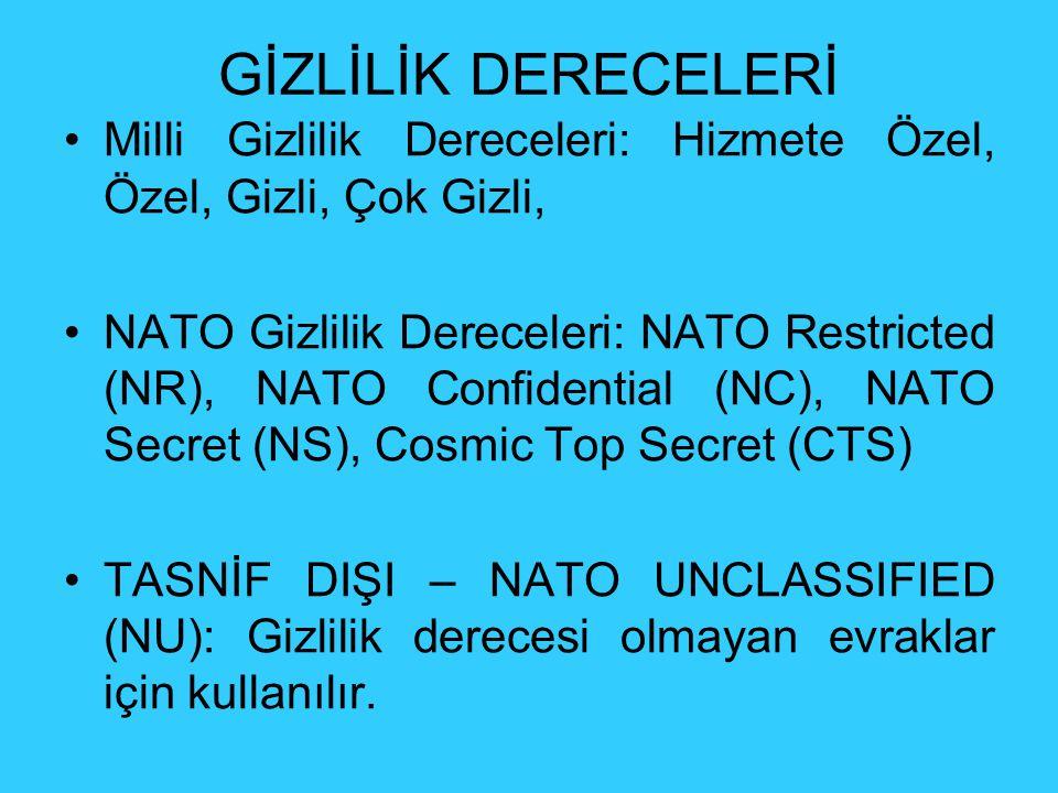 GİZLİLİK DERECELERİ Milli Gizlilik Dereceleri: Hizmete Özel, Özel, Gizli, Çok Gizli, NATO Gizlilik Dereceleri: NATO Restricted (NR), NATO Confidential (NC), NATO Secret (NS), Cosmic Top Secret (CTS) TASNİF DIŞI – NATO UNCLASSIFIED (NU): Gizlilik derecesi olmayan evraklar için kullanılır.