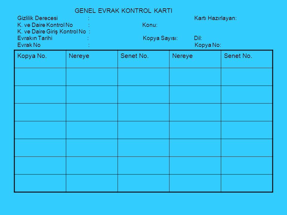GENEL EVRAK KONTROL KARTI Gizlilik Derecesi : Kartı Hazırlayan: K.