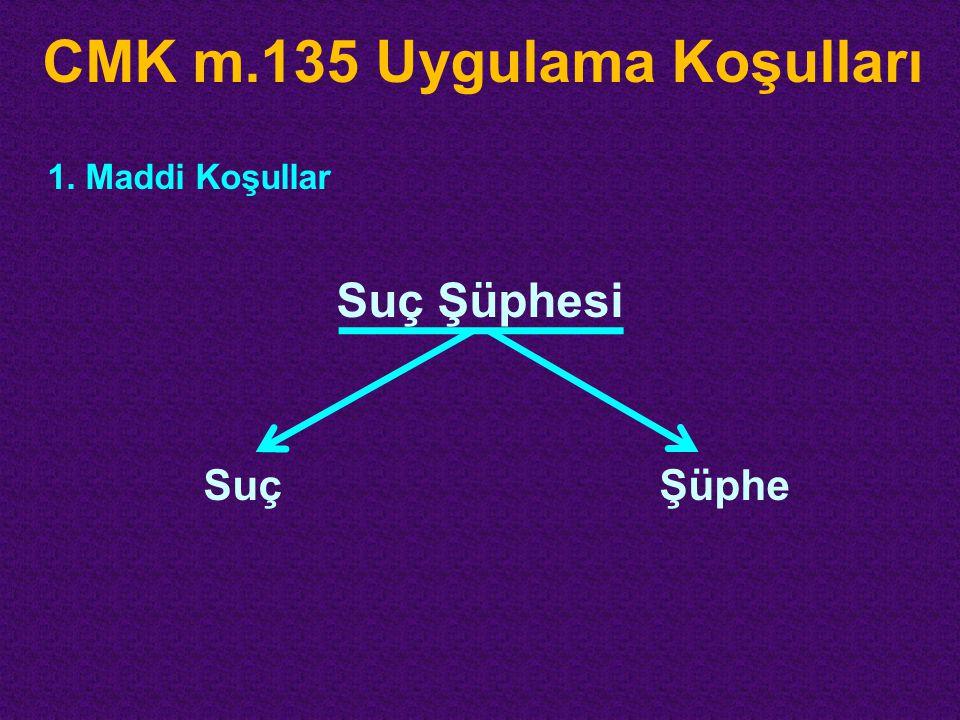 CMK m.135 Uygulama Koşulları 1.Maddi Koşullar Suç Şüphesi SuçŞüphe